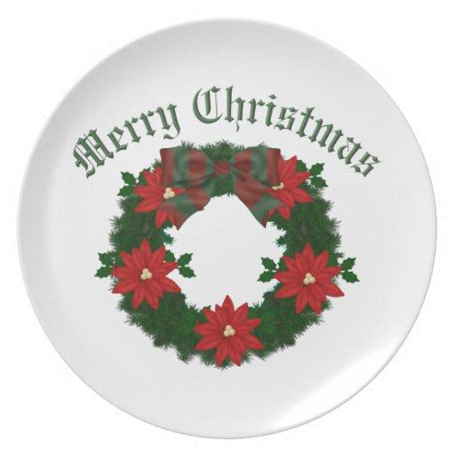 Lovely Christmas Holiday Wreath - Customize Plates