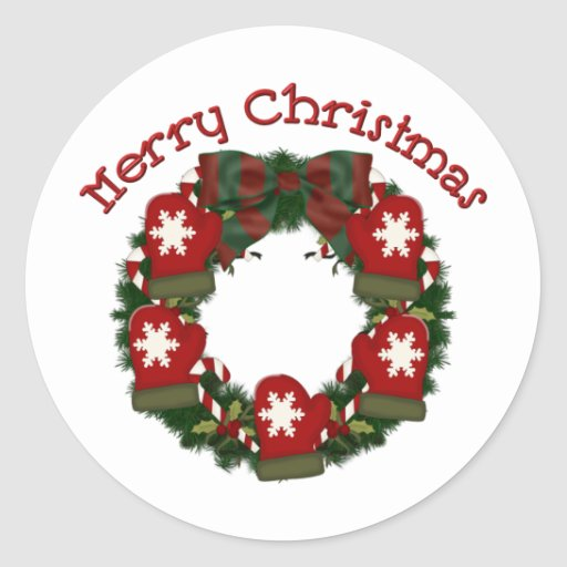 Lovely Christmas Holiday Wreath Tees, Gifts Round Stickers
