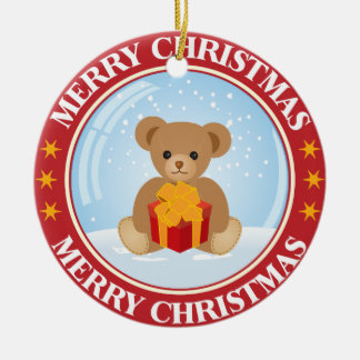 Lovely Christmas Snowball with Cute Bear Inside Double-Sided Ceramic Round Christmas Ornament