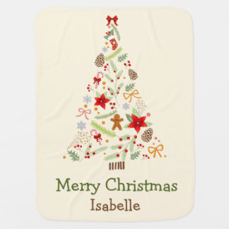 Lovely Christmas Tree Holiday Greetings Blanket