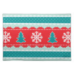 Lovely Christmas Trees Snowflakes Red&Teal Design Cloth Place Mat