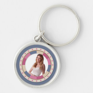lovely Circle frame - 'Beige Rose' on blue Keychain