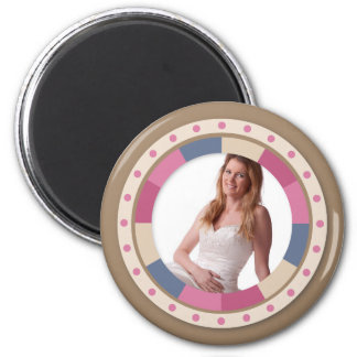 lovely Circle frame - 'Beige Rose' on brown 2 Inch Round Magnet