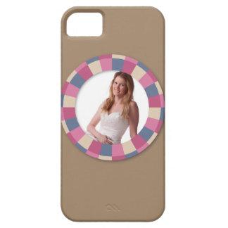 lovely Circle frame - 'Beige Rose' on brown iPhone SE/5/5s Case
