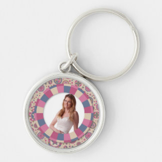 lovely Circle frame - 'Beige Rose' on pattern Keychain