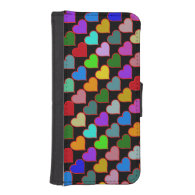 lovely color hearts iPhone 5 wallet case