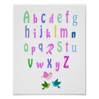 lovely colorful alphabet and birds Nursery baby Poster