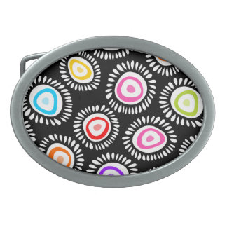 Lovely colorful funky flowers Belt Buckle