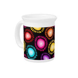 Lovely colorful funky flowers Pitcher