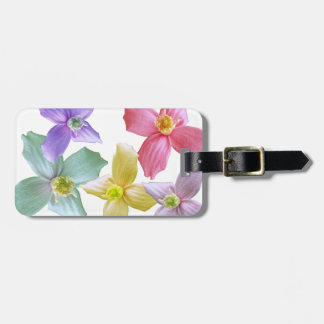 Lovely colorful pink, blue, purple, yellow flowers bag tag