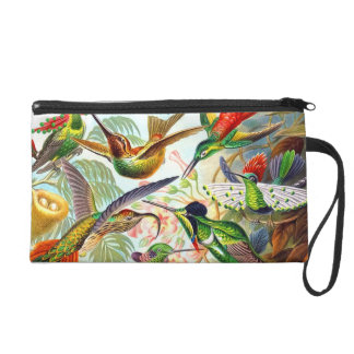 Lovely Colorful Vintage Exotic Bird Wristlet Bag