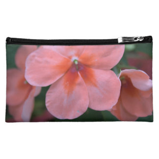 lovely common pink garden flowers. floral nature cosmetic bag