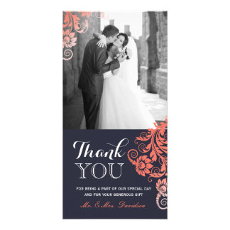 Lovely Coral and Blue Thank You Photo Card (4x8)