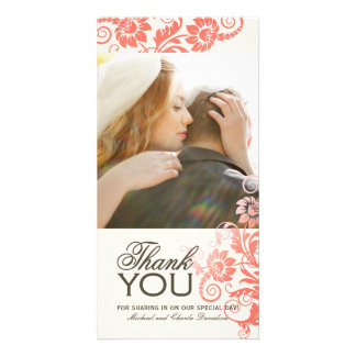 Lovely Coral Thank You Photo Card (4x8)