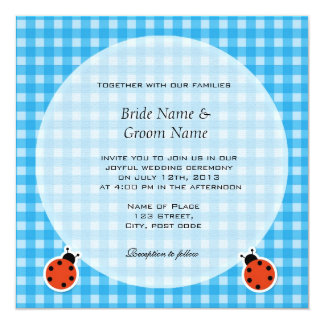 Lovely country style plaids and lady bugs wedding 5.25x5.25 square paper invitation card