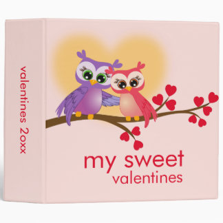Lovely Couple Owls on a Branch Valentines Day Binder