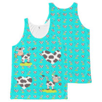 Lovely Cow-Repeated All-Over-Print Tank Top
