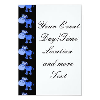 lovely cows,oneway blue 3.5x5 paper invitation card