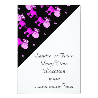 lovely cows pink 5x7 paper invitation card