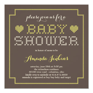 Lovely Cross Stitch Baby Shower Invitation - Yello