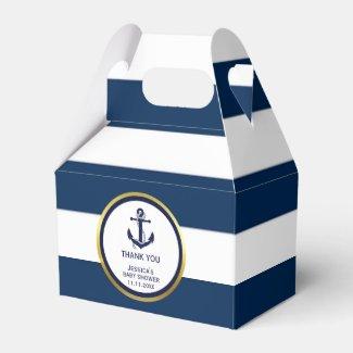 Lovely Custom Nautical Navy Blue Gold Baby Shower Favor Box