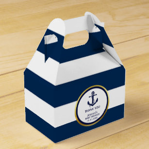 Lovely Custom Nautical Navy Blue Gold Baby Shower Favor Box
