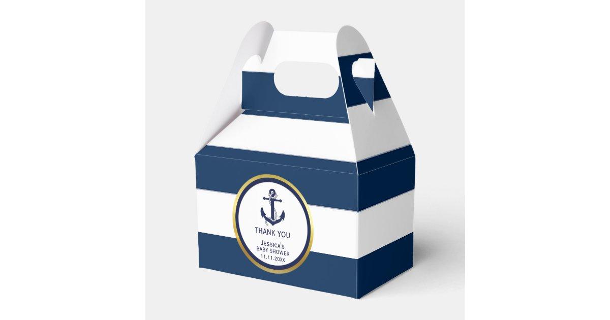 Lovely Custom Nautical Navy Blue Gold Baby Shower Favor Box Zazzlecom