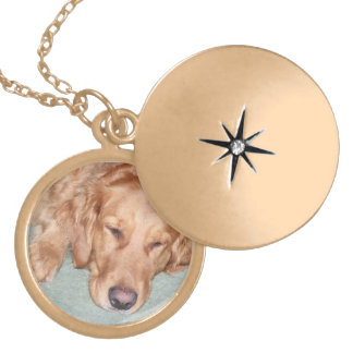 Lovely, Custom Photo Locket, Golden Retriever Locket Necklace