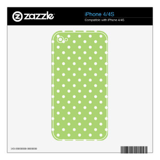 Lovely, cute, classic  lime green polka dots decal for iPhone 4S