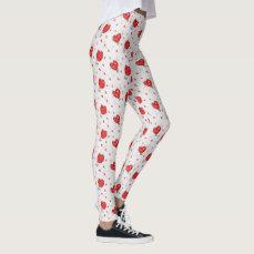Lovely cute little red Hearts Custom Leggings