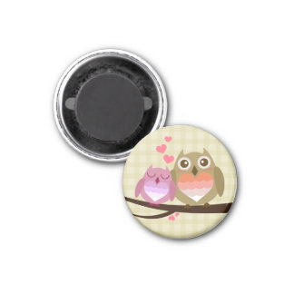 Lovely Cute Owl Couple Full of Love Heart 1 Inch Round Magnet