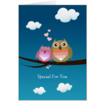 Lovely Cute Owl Couple Full of Love Heart Cards