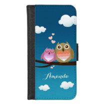 Lovely Cute Owl Couple Full of Love Heart Monogram iPhone 8/7 Wallet Case