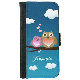 Lovely Cute Owl Couple Full of Love Heart Monogram Wallet Phone Case For iPhone 6/6s