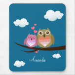 Lovely Cute Owl Couple Full of Love Heart Mouse Pad