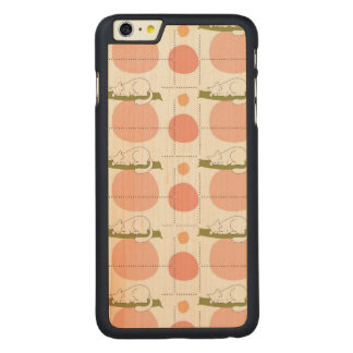 Lovely Cute Sleeping Cats Pattern Unique Carved® Maple iPhone 6 Plus Slim Case