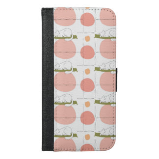 Lovely Cute Sleeping Cats Pattern Unique iPhone 6/6s Plus Wallet Case