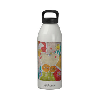 Lovely cute smiles in love hearts bow flowers drinking bottle