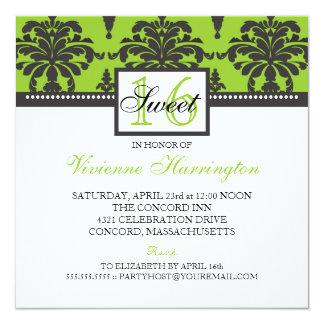 Lovely Damask Black & Lime Sweet 16 Invitation