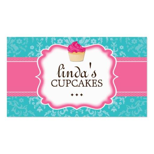 Lovely Damask Cupcake Business Cards
