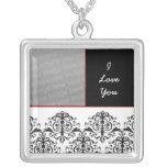lovely damask Photo Personalized Necklace