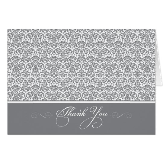 Lovely Damask Photo Thank You Card (silver/white)