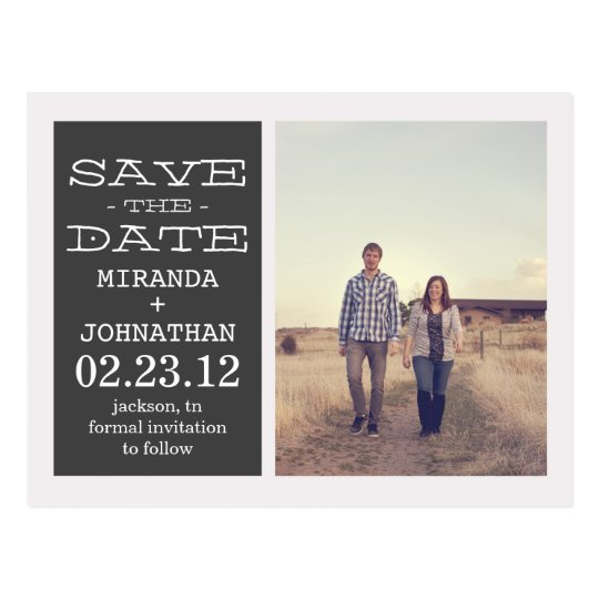 Lovely Dark Gray Photo Save The Date Post Cards