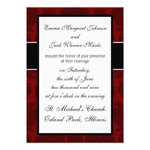 lovely dark red bold damask design invitations