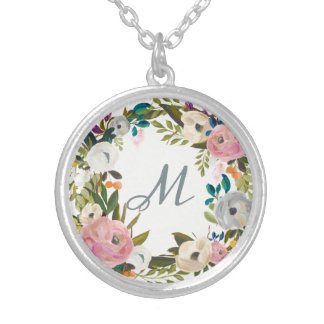 Lovely Delicate Flowers | Monogram Silver Plated Necklace