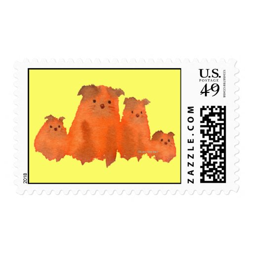 Lovely dog's family postage stamp