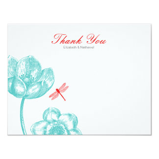 Lovely Dragonfly Thank You Note card Blue & Orange