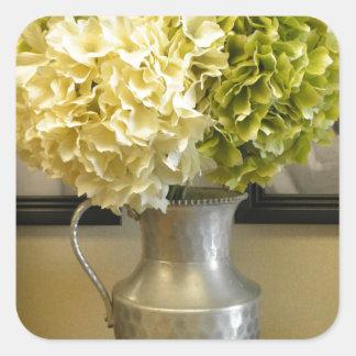 Lovely Elegant Hydrangeas in Vase Square Sticker