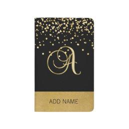 Lovely Elegant Monogram Black Gold Notebook