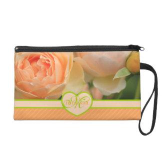 Lovely English Peach Roses Rosebuds Yellow Green Wristlet